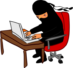 cartoon ninja typing